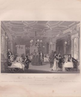 Antique Engraving Print, The Trois Frerès... Palais Royal, 1840