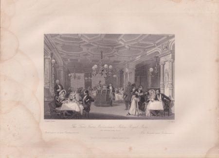 Antique Engraving Print, The Trois Frerès... Palais Royal, 1840