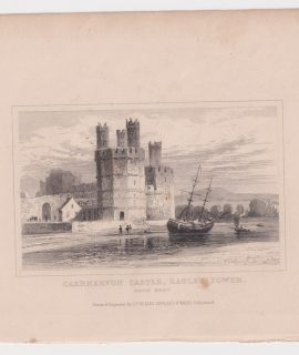 Antique Engraving Print, Caernarvon Castle, Eagle's Tower, 1845
