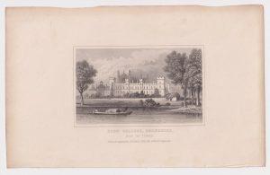 Antique Engraving Print, Eton College, Berkshire, 1845