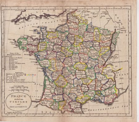 Antique Map, France divided into circles and departments, 1800