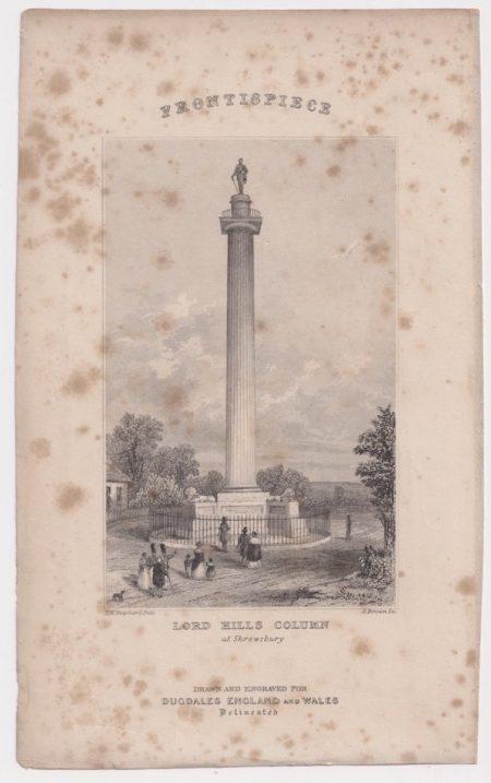 Antique Engraving Print, Lord Hills Column, 1845