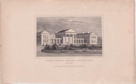 Antique Engraving Print, London Orpham Asylum, Hackney Road, 1845