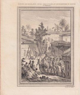Antique Engraving Print, Maisons de Benin, avec leurs Executions... 1747
