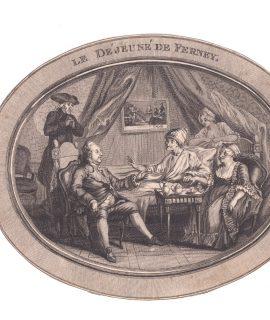 Antique Engraving Print, Le déjeuné de Ferney, 1778