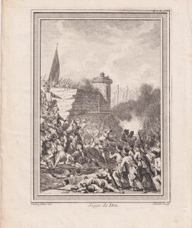 Antique Engraving Print, Siege de Diu, 1747