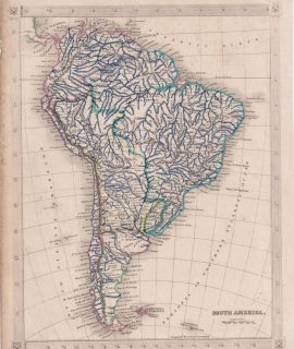 Antique Map, South America, 1842
