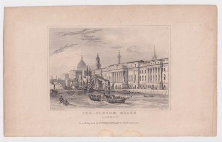 Antique Engraving Print, The Custom House, London, 1845