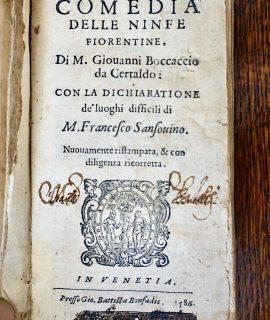Ameto, Comedia delle ninfe fiorentine di M. Giovanni Boccaccio da Certaldo, in Venezia presso Battista Bonfandio, 1586