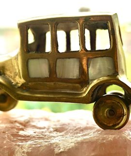 Vintage Handmade Brass Car Miniature with Mother of Pearl
