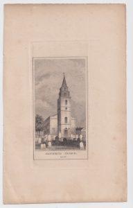 Antique Engraving print, Gravesend Church, Kent, 1835 ca.