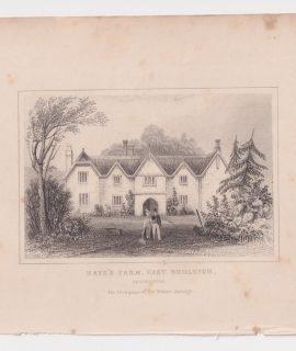 Antique Engraving print,Haye's Farm, Est Budleigh, 1845