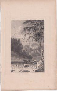 Antique Engraving Print, Llanddewi, Cardiganshire, 1845