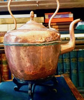 Antique Massive Victorian Copper Kettle by E. Payton LTD Birmingham, 1870 ca.
