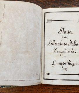 Antique Manuscript, Storia della letteratura italiana compendiata da Giuseppe Fazzini, 1859