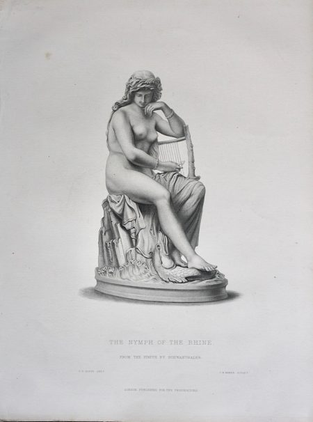 Antique Print, The Nymph of the Rhine, 1860
