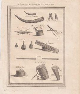 Antique Engraving Print, Instruments Musicaux de la Côte d'Or, 1747