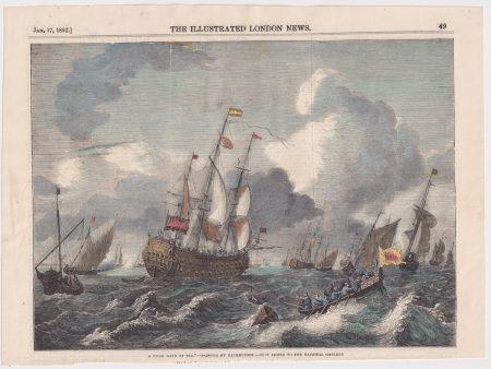 Antique Print, A Brisk Gale at Sea, 1852