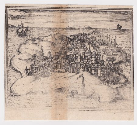 "Antique Engraving print, Franz Hogenberg Quiloa, Map from ""Civitates Orbis Terrarum"" - by F.Hogenberg - 1575"