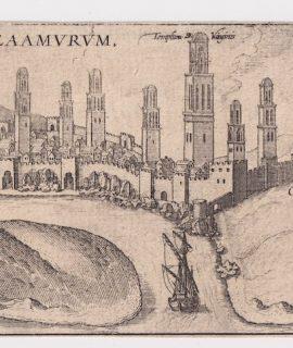 """Franz Hogenberg, Azaamurum, Map from """"Civitates Orbis Terrarum"""" – by F.Hogenberg – 1575"""