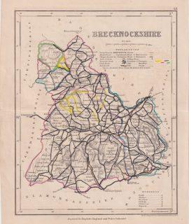 Antique Map, Brecknockshire, engraved for Dugdales, 1845