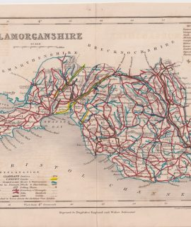 Antique Map, Glamorganshire, 1845
