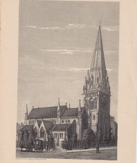 Antique Print, Kensington Church, 1878