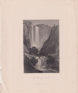 Antique Engraving print, The Mountain Torrent, 1850 ca.