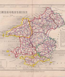 Antique Map, Pembrokeshire, 1840 ca.