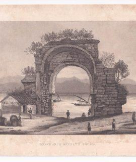 Antique Engraving Print, Roma Arch Beneath Bougia, 1820 ca.