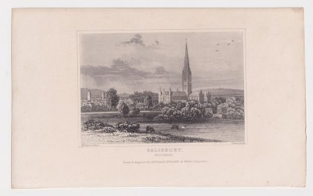 Antique Engraving Print, Salisbury, Wilthshire, 1829