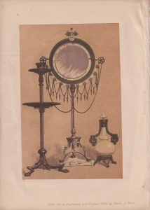 Antique Print, Toilet Mirror, Candlestick, and Perfume by Lerolle, of Paris, 1868