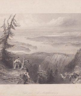 Antique Engraving print, View over Lake Memphremagog, 1842