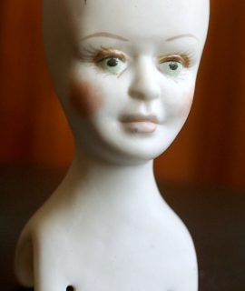 Vintage Handmade Bisque Doll Head, signed A.D.