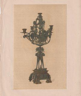 Antique Print, Bronze Candelabrum, by M.M. Miroy Frères, 1868