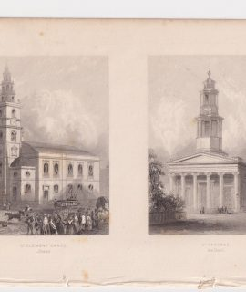 Antique Engraving Print, St. Clement Danes; St. Pancras, 1820