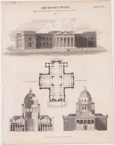 Antique Engraving Print, Architecture, Perspective View of the Court-House, public offices, and Gaol of Glasgow, 1827