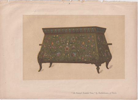 Antique Print, An Enamel Trinket Vase, by Barbedienne, of Paris, 1868