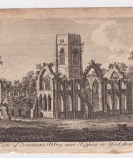 Antique Engraving Print, A View of Fountain's Abbey near Rippon in Yorkshire, 1770