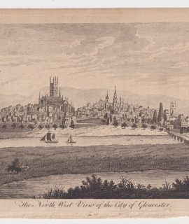 Antique Engraving Print, The North West View of the City of Gloucester, 1770
