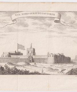Antique Engraving Print, Vue Nord Ouest du Cap Corse, 1747