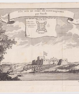 Antique Engraving Print, Vue sud du Fort de Tantum Querry, 1760