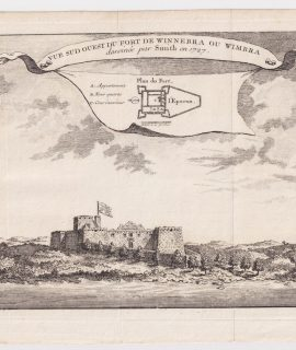 Antique Engraving Print, Vue Sud Ouest du Fort de Winnebra ou Wimbra, 1747
