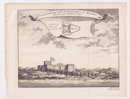 Antique Engraving Print, Vue Sud Ouest du Fort de Winnebra ou Wimbra, 1747