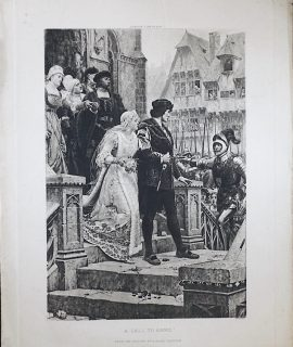 Antique Engraving Print, A Call to Arms, 1870 ca.