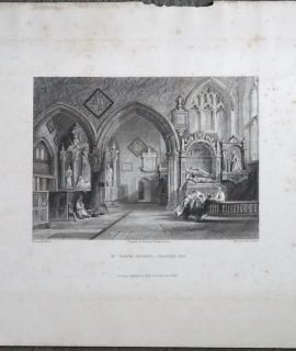 Antique Engraving Print, St. Mary's, Reigate, Chancel End, 1841