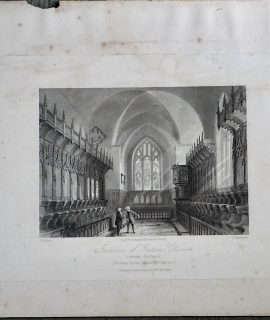 Antique Engraving Print, Interior of Gatton Church, 1830 ca.