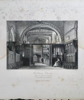 Antique Engraving Print, Mickleham Church, Surrey, 1830 ca.