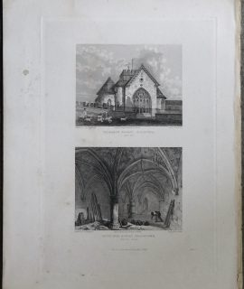 Antique Engraving Print, St. Mary's Church Guildford; Crypt, Hight Street, Guilford, 1840