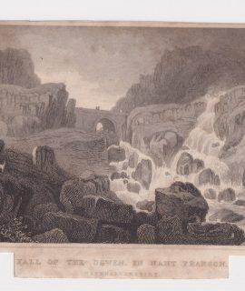 Antique Engraving Print, Fall of the Ogwen in Nant Frangon, 1830